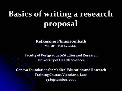 Of Writing A Research Proposal  Ketkesone Phrasisombath