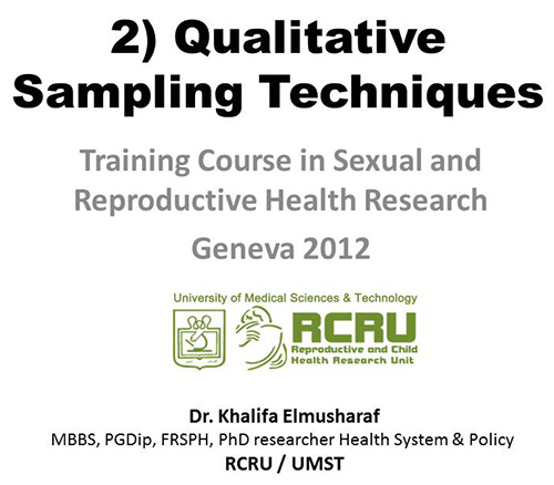 Sample methodology for qualitative research