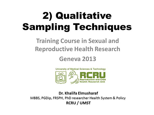 Research sampling methods